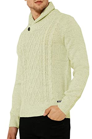 a32f3330d5c83d Threadbare Mens Shawl Collar Jumper Cable Knit Sweater Top Pullover Button  Perth, Ecru Melange,