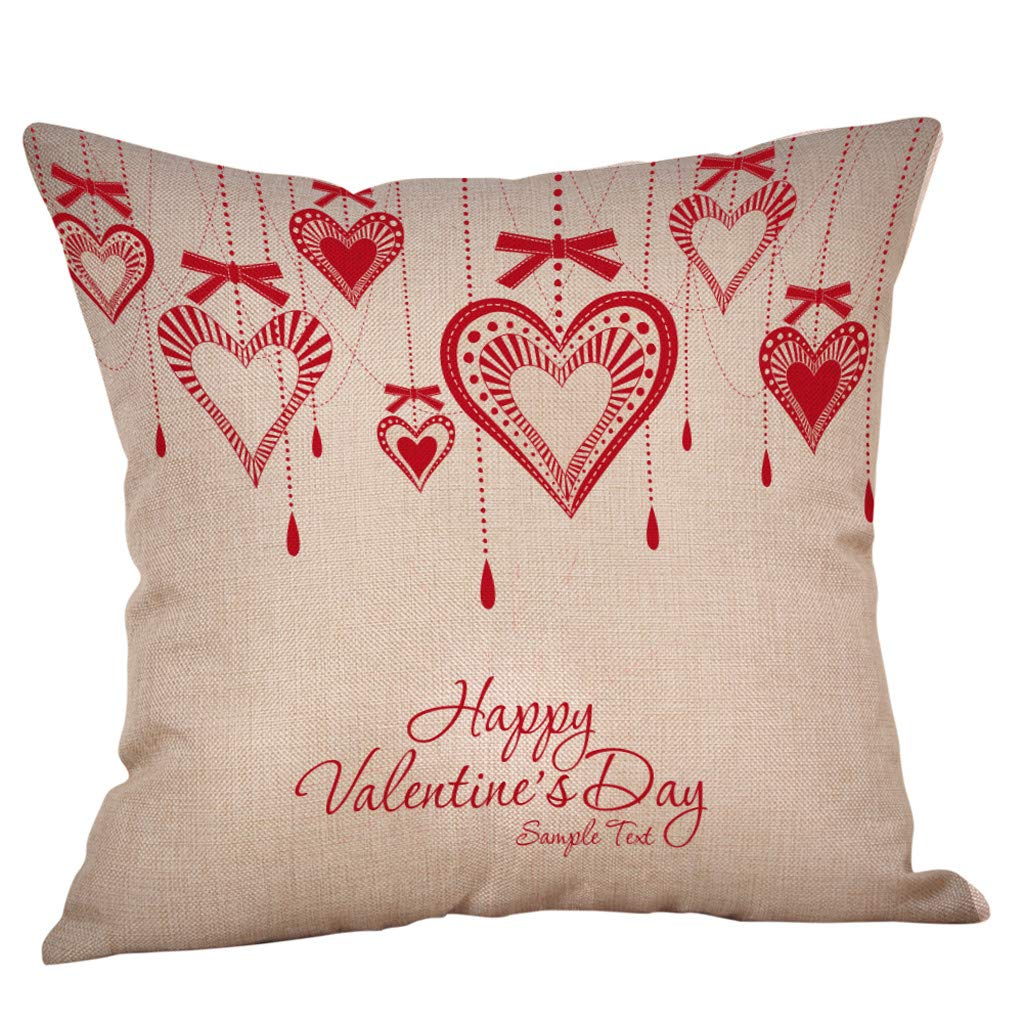 Happy Valentine Pillow Cases  Sikye Flax Heart Ballons Pillowcase Soft Modern Chair Cushion Cover - Perfer for Home, Bedroom,Office, Coffeeshop (A)