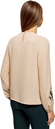 oodji Ultra Mujer Blusa de Tejido Fluido con Bordado