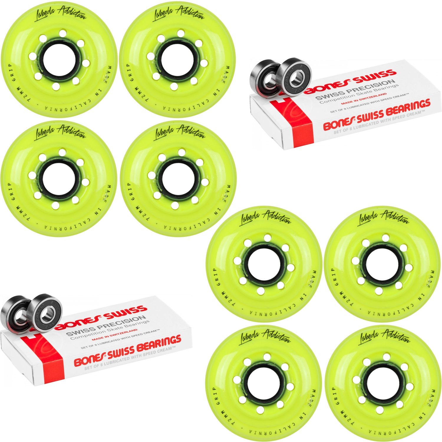 Labeda Inline Roller Hockey Skate Wheels Addiction Yellow 72mm 8 Set Bones Swiss