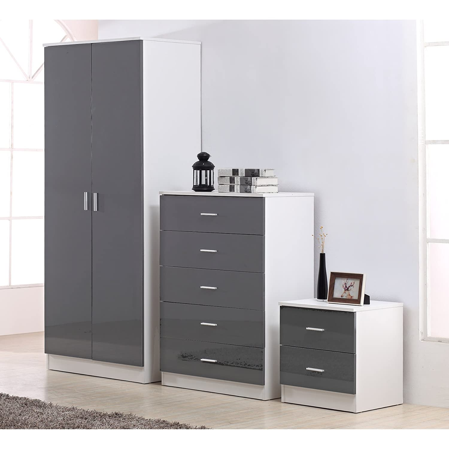 Reflect 3 Piece Bedroom Furniture Set - 2 Door Plain Wardrobe + 5 Drawer Chest Drawers + 2 Drawer Bedside - High Gloss Grey Drawer Fronts & Matt White Carcass DFurnitureStore