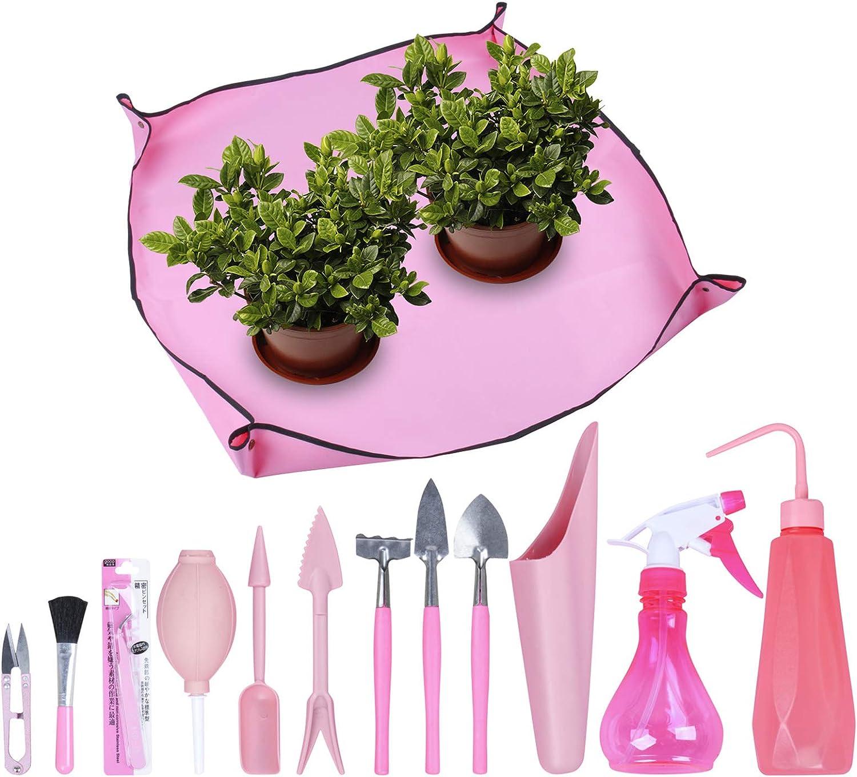 Homend 1 Pcs Garden Kneelers Work Cloth Anti Dirty Gardening Transplanting Pot Pad with 12 Pieces Mini Garden Hand Transplanting Succulent Tools for Indoor Garden Plant Care (12 PCS/Set,Pink)
