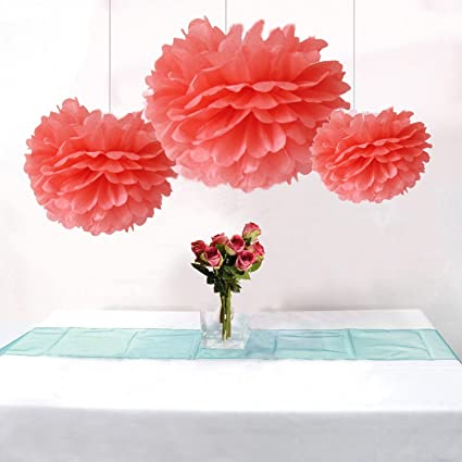 Somnr Pack Of 12pcs Mixed 3sizes Coral Tissue Paper Pom Poms Decorative Flowers Wedding Centerpieces New Year Birthday Bridal Shower Party Decoration
