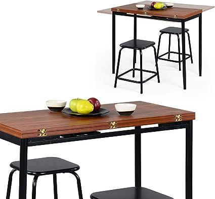 Ihouse Tavolo Da Pranzo Pieghevole Allungabile Quadrato Tavolo Da Colazione 2 4 Posti In Legno Con Struttura In Metallo Nero Amazon It Casa E Cucina