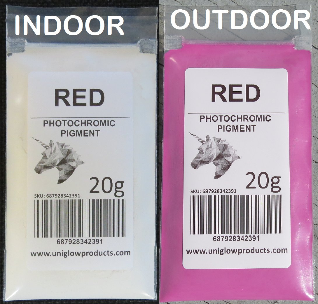 PhotoChromic Pigment changes colors when exposed to Sunlight or UV light, and reverts to its original color when sunlight is blocked. (10g, Red)