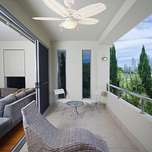 Hampton Bay Palm Beach III 48″ Indoor/Outdoor Matte White Ceiling Fan
