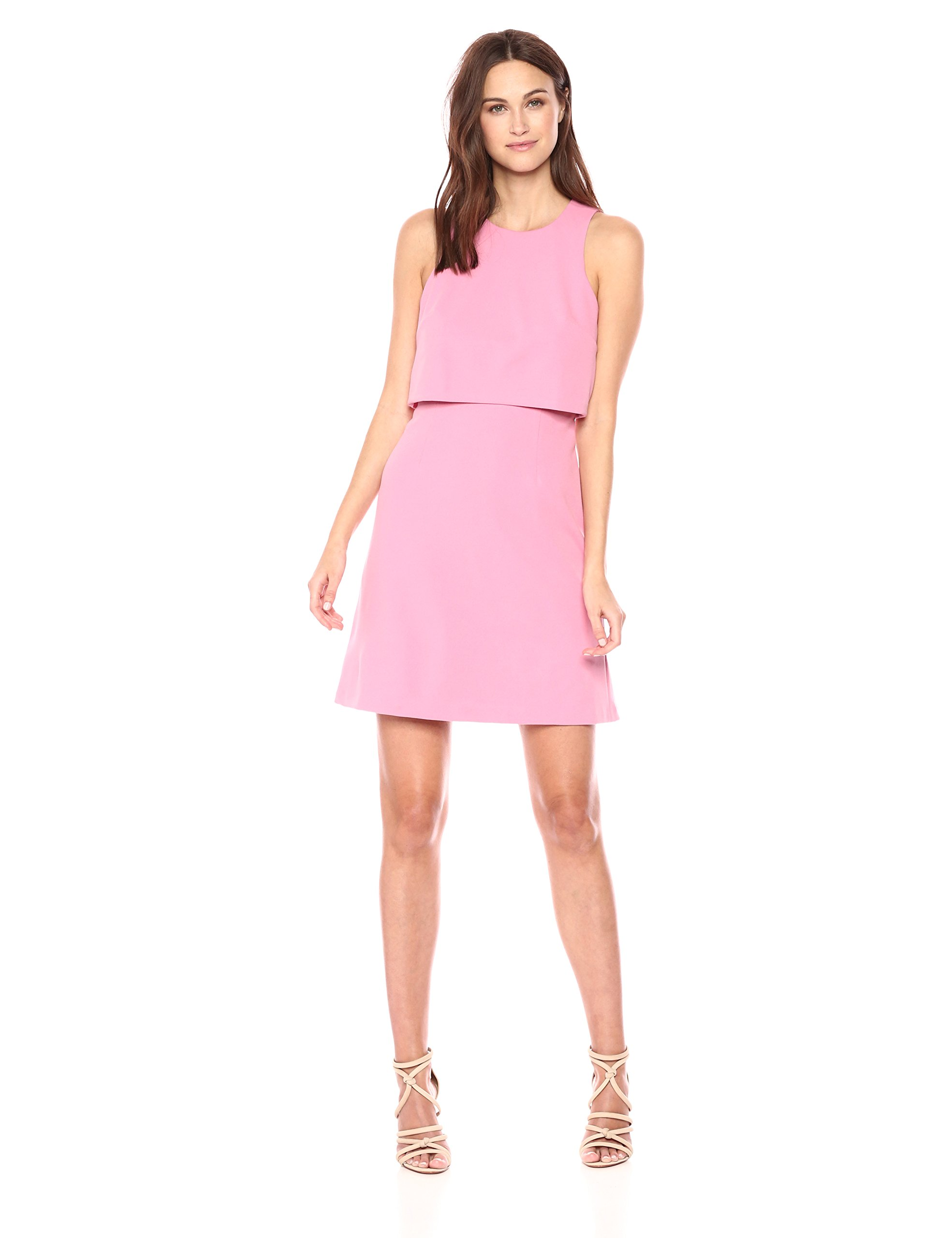 Donna Morgan Women's Crepe Sleeveless Pop-Over Dress, Pink Sherbet, 4 by Donna Morgan