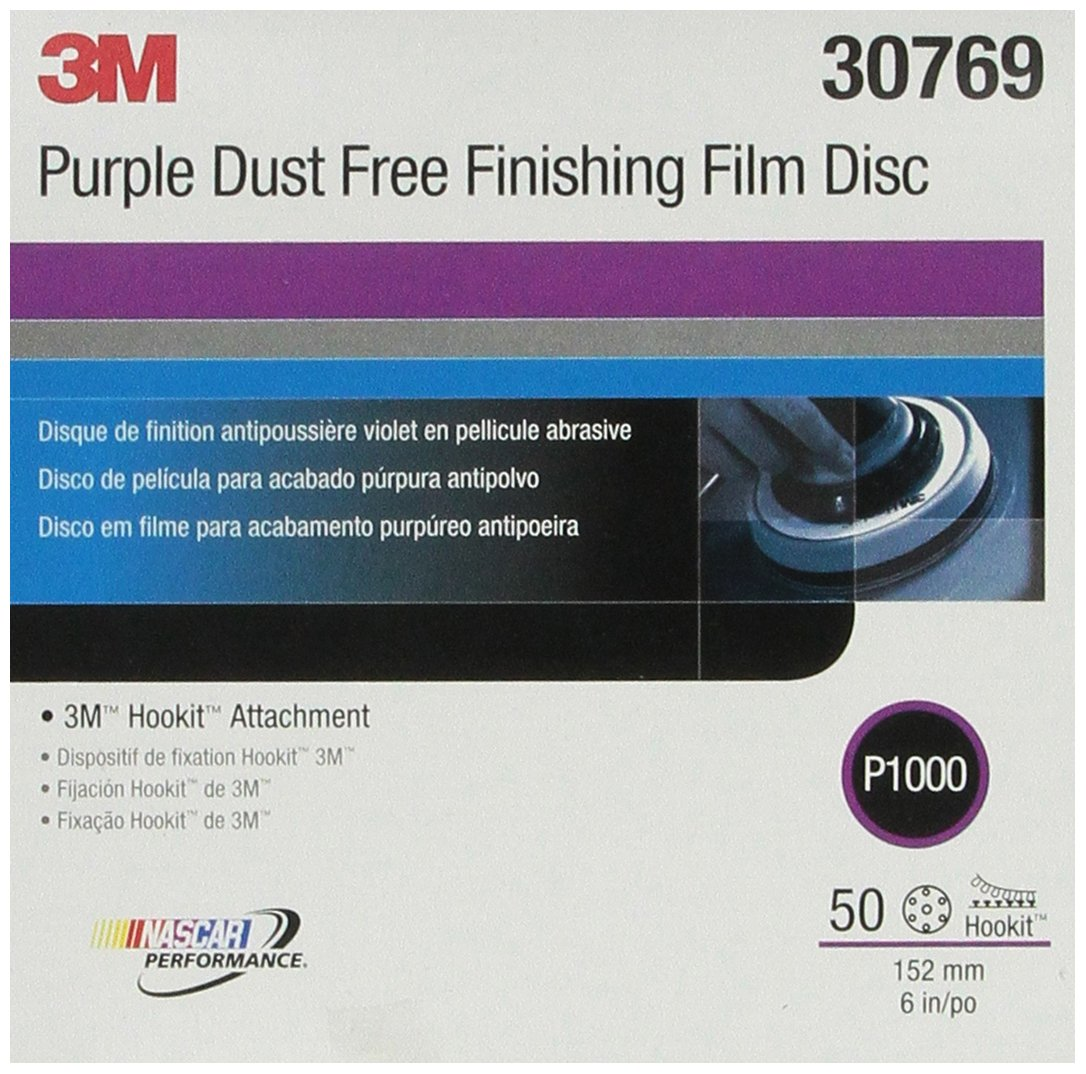 3M 30769 Hookit Purple 6'' P1000 Grit Dust-Free Finishing Film Disc