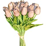Mandy's 20pcs Grey Artificial Latex Tulip Flowers for Party Home Wedding Decoration