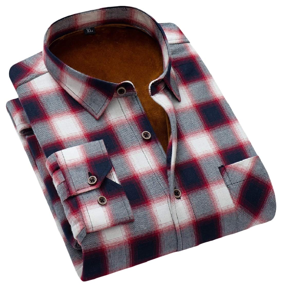 YUNY Mens Thick Plus Velvet Keep Warm Japanese Fit Long-Sleeve Plaid Pattern Shirts AS11 L