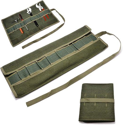 Tool Roll Bag Canvas, paquete de almacenamiento portátil Roll Bag, organizador de herramientas de estilo japonés verde Canvas Wrench Storage Bag Set estuche para jardín caja de herramientas DIY: Amazon.es: Hogar