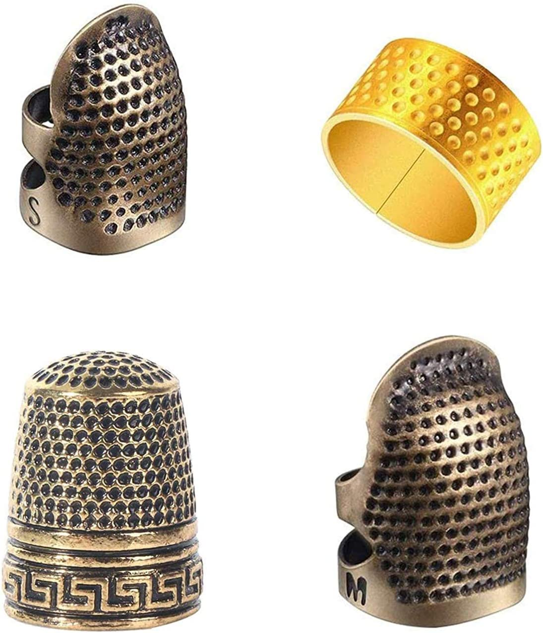 Ltjqsm 2pcs Household Sewing DIY Tools Silver Ring Thimble Finger Protector Household Craft Accessories