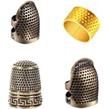 4 Pieces Sewing Thimble, Metal Copper Sewing Thimble Finger Protector Adjustable Finger Shield Ring Fingertip Thimble…