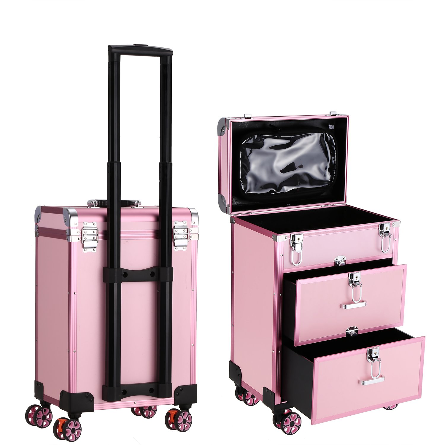 Oanon Multifunction Professional Aluminum Artist Cosmetic Makeup Train Cases, Salon Beauty Cosmetic Trolley Organizer 4-wheel Rolling with Keys Pink (13.3 x 9.4 x 19.9inch)