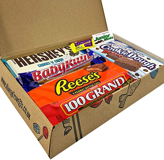 Heavenly Cesta de Dulces y Chocolate Americanos - Set de Marcas Clásicas de USA, Surtidos Originales, Regalo Perfecto para Niños, Adulto - Cumpleaños, Navidad - 18 Dulces, paquete de 28x19x4cm: Amazon.es: Alimentación y bebidas