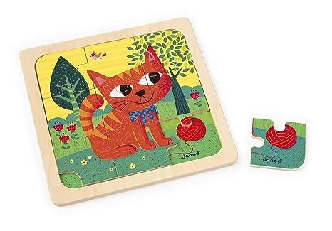 Janod j puzzle pièces chat felix bois amazon