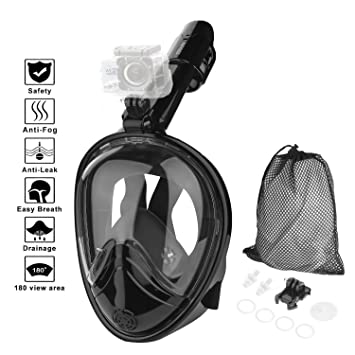 HOVNEE Snorkeling Mask Full Face Diving Mask with Detachable Action Camera  Mount, 180°Large View Easy Breath Dry Top Design Anti-Fog and Anti-Leak
