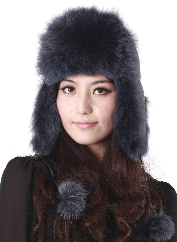 Pulinda Women's Dyed Blue Russian Ushanka Fox Fur Hat Blue One Size by Pulinda