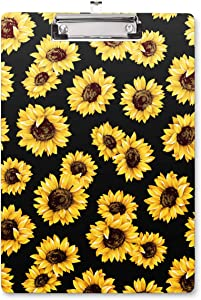 WAVEYU Clipboard Hardboard Office, Cute Clipboard, Decorative Clipboard with Low Profile Clip Sunflower Design for Women Girl, Retractable Key Hole for Hanging Paperboard for Office School, Sunflower