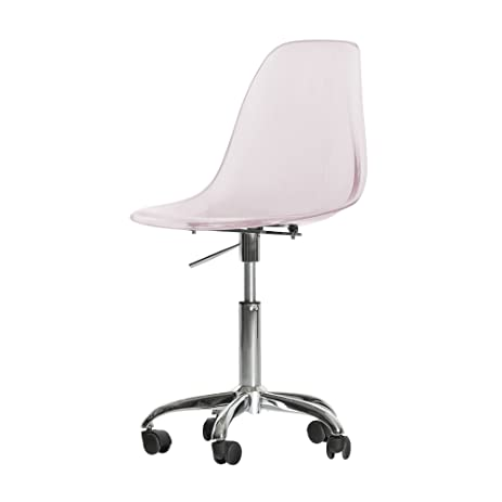 South Shore Annexe Acrylic Office Chair with Wheels, Clear Pink Blush