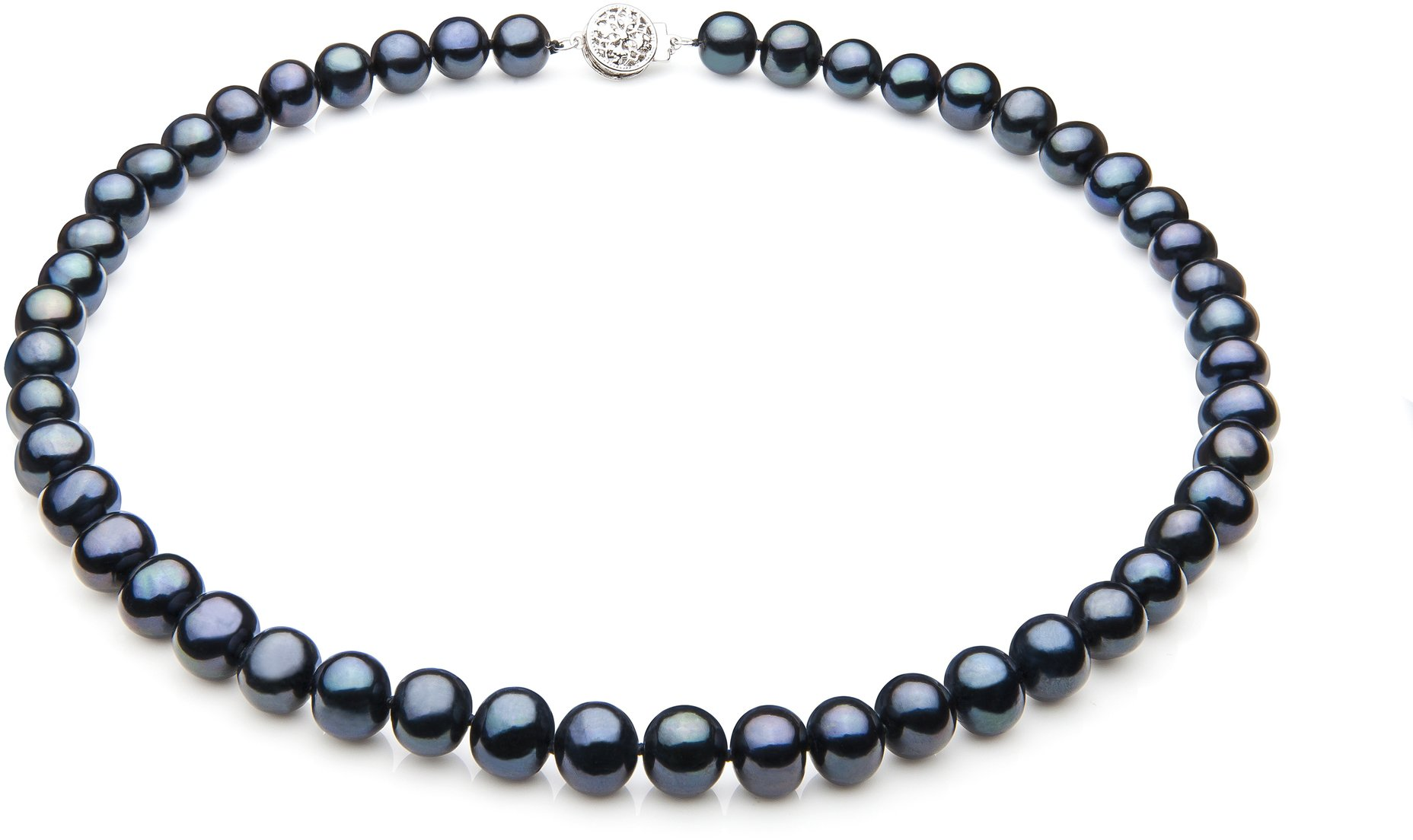 Single Black 7-8mm A Quality Freshwater 925 Sterling Silver Cultured Pearl Necklace-18 in Princess length