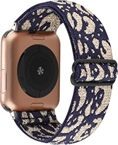 Adjustable Elastic Watch Band Compatible with Apple Watch 38mm 40mm, Nylon Stretchy Loop Bracelet Women Replacement Wristbands for iWatch Series 6/5/4/3/2/1 (Navy Gold Powder Cheetah, 38mm/40mm)