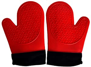 Extra Large Red/Black Heat Resistant Silicone Oven Mitts