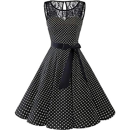Homecoming Dresses 2019, Women Sleeveless Solid Lace Hepburn Vintage Swing  High-Waist Pleated Dress