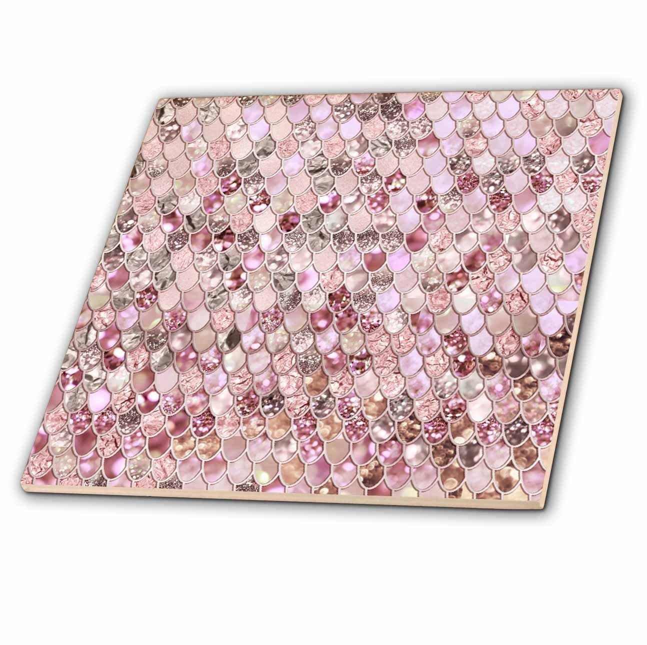 3dRose ct_275454_2 Image of Small Rose Gold Shiny Luxury Elegant Mermaid Scales Glitter Ceramic Tiles,