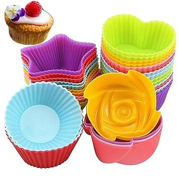 avirgo reutilizable silicona de repostería para moldes al azar colores para magdalenas tazas Resisitant de calor y antiadherente para hornear tazas Cupcake ...
