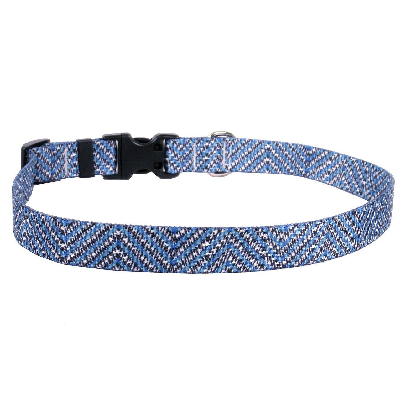 Extra Small 8\ Yellow Dog Design bluee Tweed Dog Collar 3 8  Wide And Fits Neck 8 To 12 , X-Small
