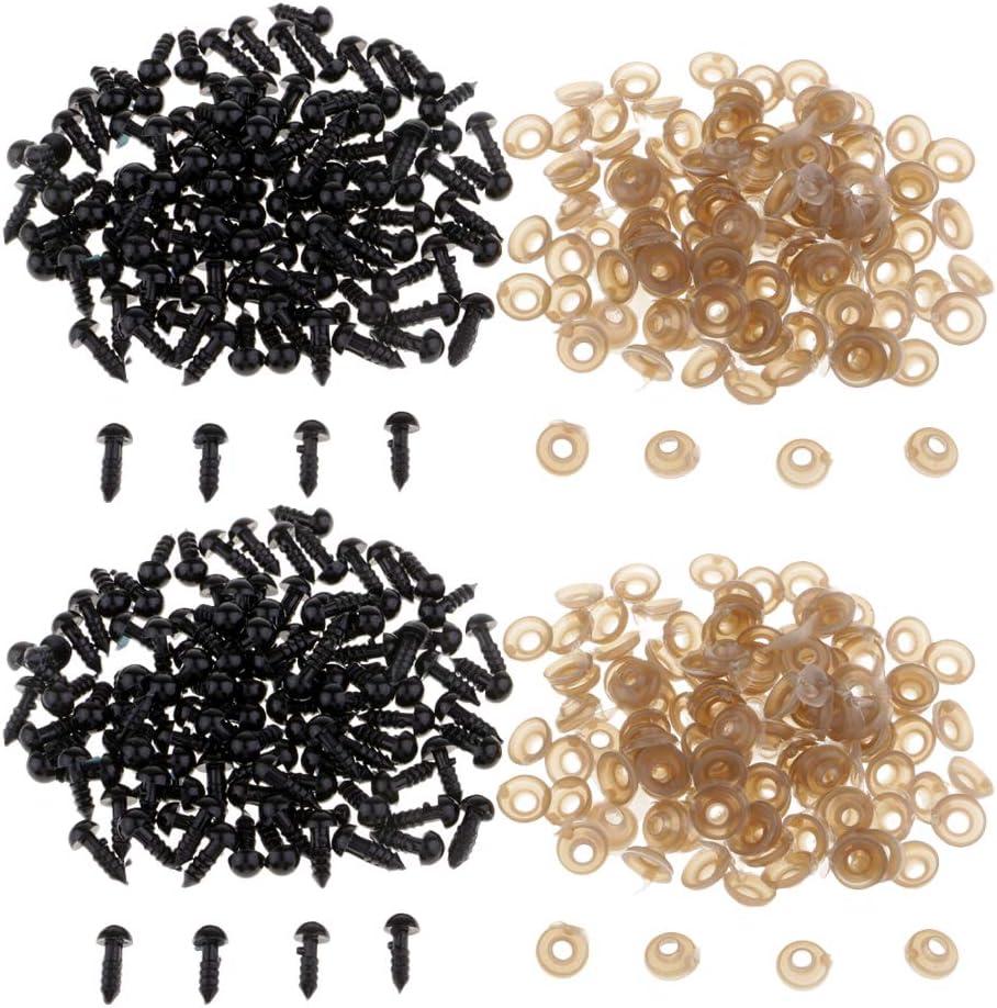 Baoblaze 200er//Pack Schwarze Teddyaugen Sicherheitsaugen Kunststoffaugen Puppenaugen 7mm DIY Pl/üschtieren