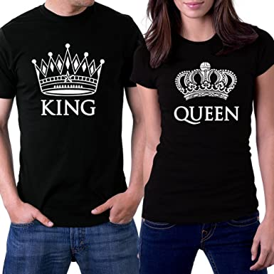 Amazon.com: PicOnTshirt King and Queen Black Couple T-shirts White ...