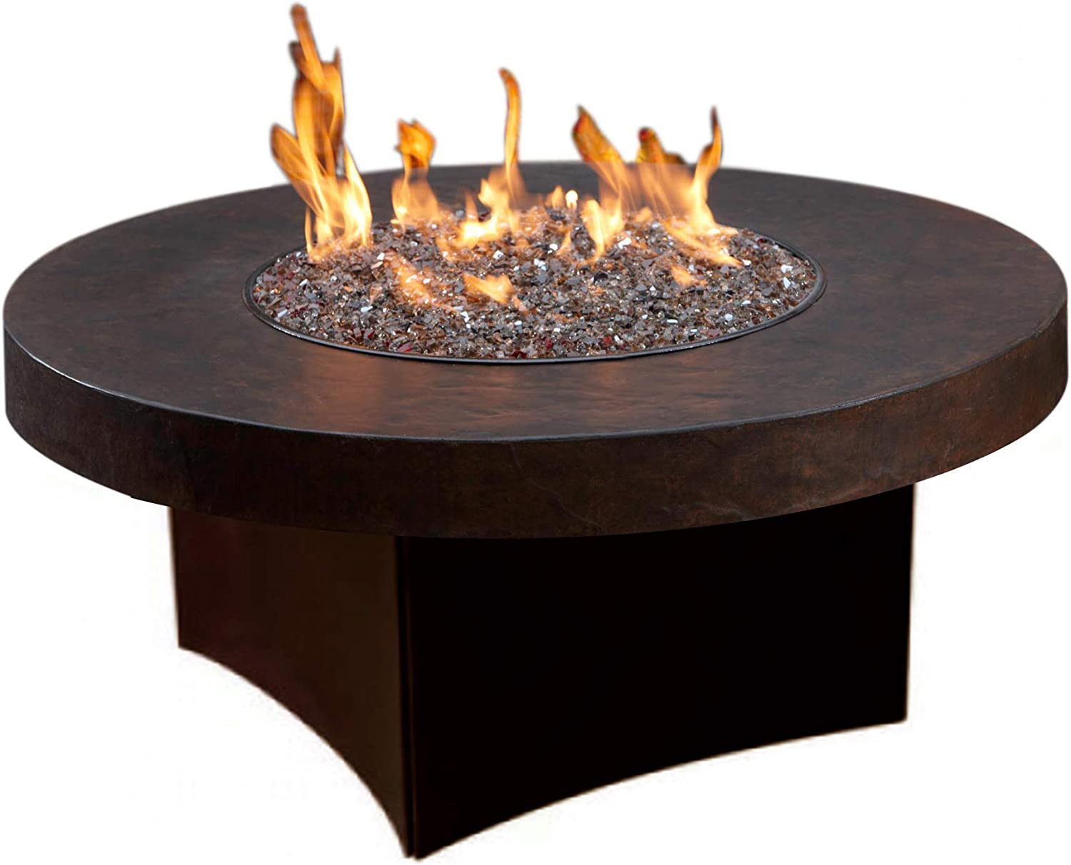 Amazon Com Oriflamme Outdoor Savanna Stone Gas Fire Pit Table Round Brown 38 Table Top Propane Garden Outdoor