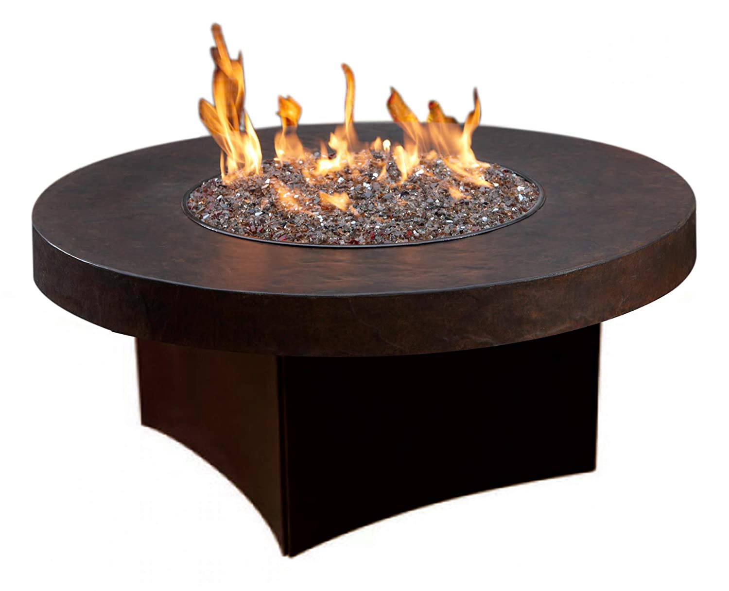 Oriflamme Outdoor Savanna Brown Stone Outdoor Gas Fire Pit Table W Fire Glass 42 Brown Round Natural Gas Amazon In Garden Outdoors