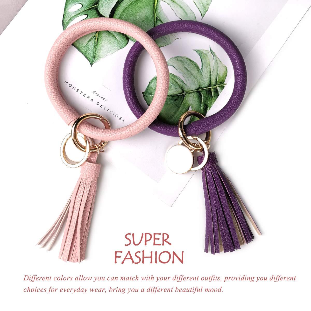 Tassel Ring o Key Ring Keychain Wristlet for Women Girls Leather Bracelet Key Ring Bangle Keyring Free Your Hands