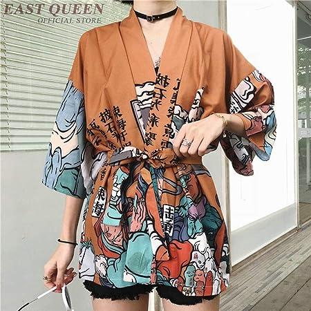 Kimono Cardigan Blusa De La Camisa del Verano Kimonos Playa Mujer Cosplay Yukata Femenina OBI Komono Streetwear Japonés Hyococ (Color : 1, Size : One Size): Amazon.es: Hogar