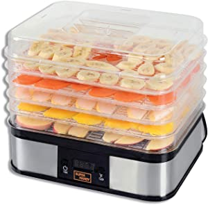 SuperHandy Food Dehydrator Electric Preserver Machine 5 Tray Layer BPA Free Professional Digital Timer 1-48h Temperature Range 104F (40C) - 158F (70C) for Jerky/Meat/Fruit/Vegetable