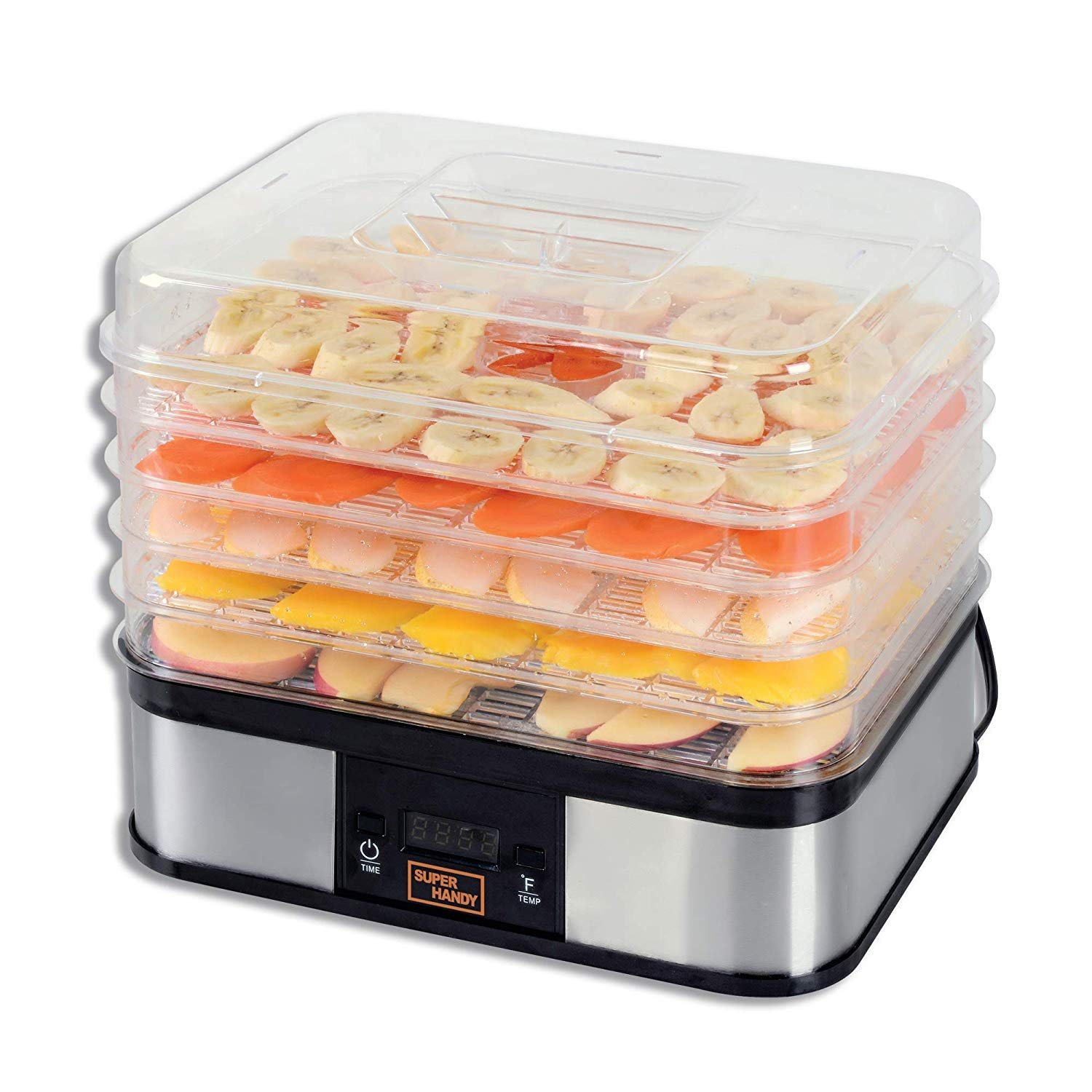 SuperHandy Food Dehydrator Electric Preserver Machine 5 Tray Layer BPA Free Professional Digital Timer 1-48h Temperature Range 104F (40C) - 158F (70C) for Jerky/Meat/Fruit/Vegetable by SuperHandy