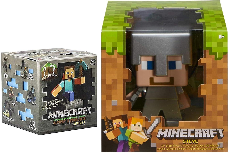 Armored Mega Iron Steve Minecraft Figure Enchanted Game Character Bundled with Mini Craftable Character Mini Blind Box Series 8-bit Figure Scene 2 Items MC AYB