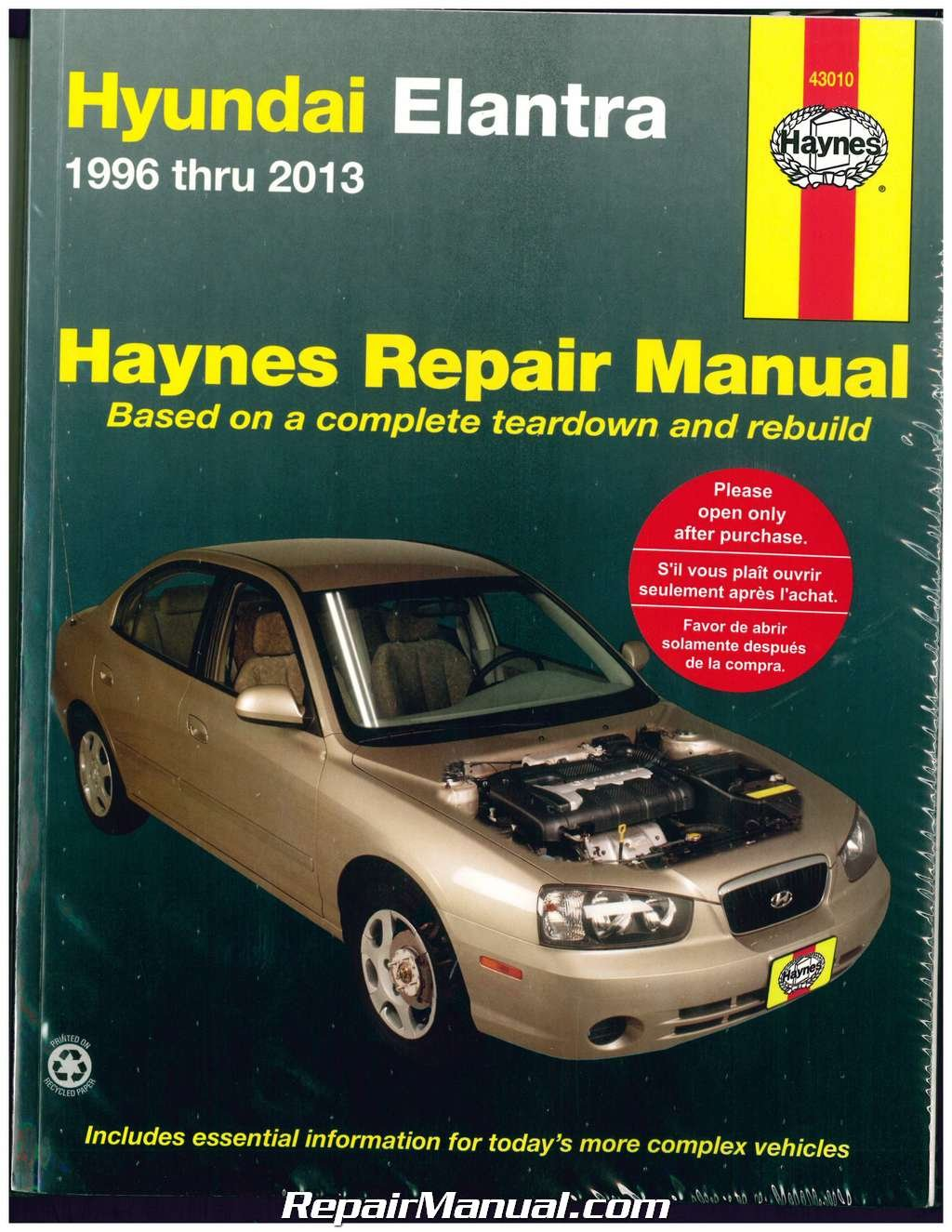 Amazon.com: H43010 Haynes Hyundai Elantra 1996-2013 Auto Repair Manual:  Manufacturer: Automotive