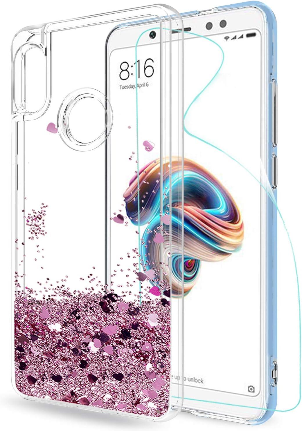 LeYi Funda Xiaomi Redmi Note 5 Silicona Purpurina Carcasa con HD Protectores de Pantalla, Transparente Cristal Bumper Gel TPU Fundas Case Cover para Movil Redmi Note 5 Pro ZX Oro Rosa