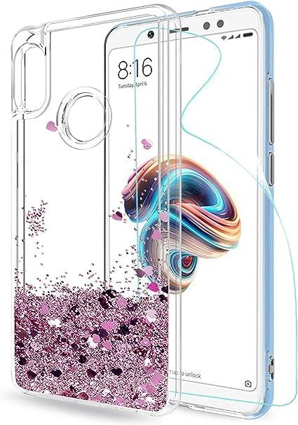 LeYi Funda Xiaomi Redmi Note 5 Silicona Purpurina Carcasa con HD ...