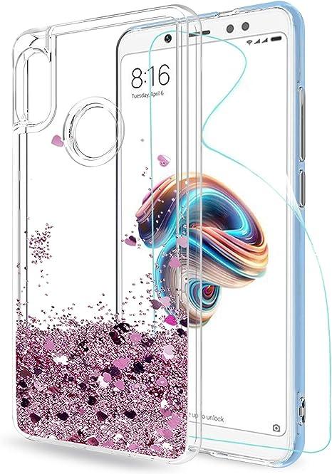 LeYi Funda Xiaomi Redmi Note 5 Silicona Purpurina Carcasa con HD Protectores de Pantalla, Transparente Cristal Bumper Gel TPU Fundas Case Cover para Movil Redmi Note 5 Pro ZX Oro Rosa: Amazon.es: