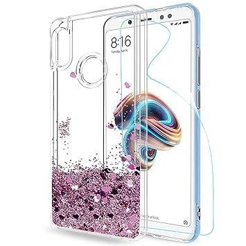 LeYi Funda Xiaomi Redmi Note 5 Silicona Purpurina Carcasa con HD Protectores de Pantalla, Transparente Cristal Bumper Gel TPU Fundas Case Cover para ...