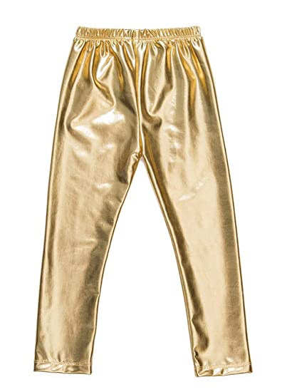 fe20b0279 Messy Code Baby Girls Pants Faux Leather Leggings for Toddlers Trousers  Gold Kids Clothes Boutique Gold