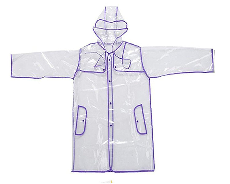 Chubasquero con capucha largo para mujer, transparente, de INMOZATA, morado, largo