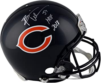 "95d74aae414 Brian Urlacher Chicago Bears Autographed Riddell Authentic Pro-Line Helmet  with""HOF 18"""