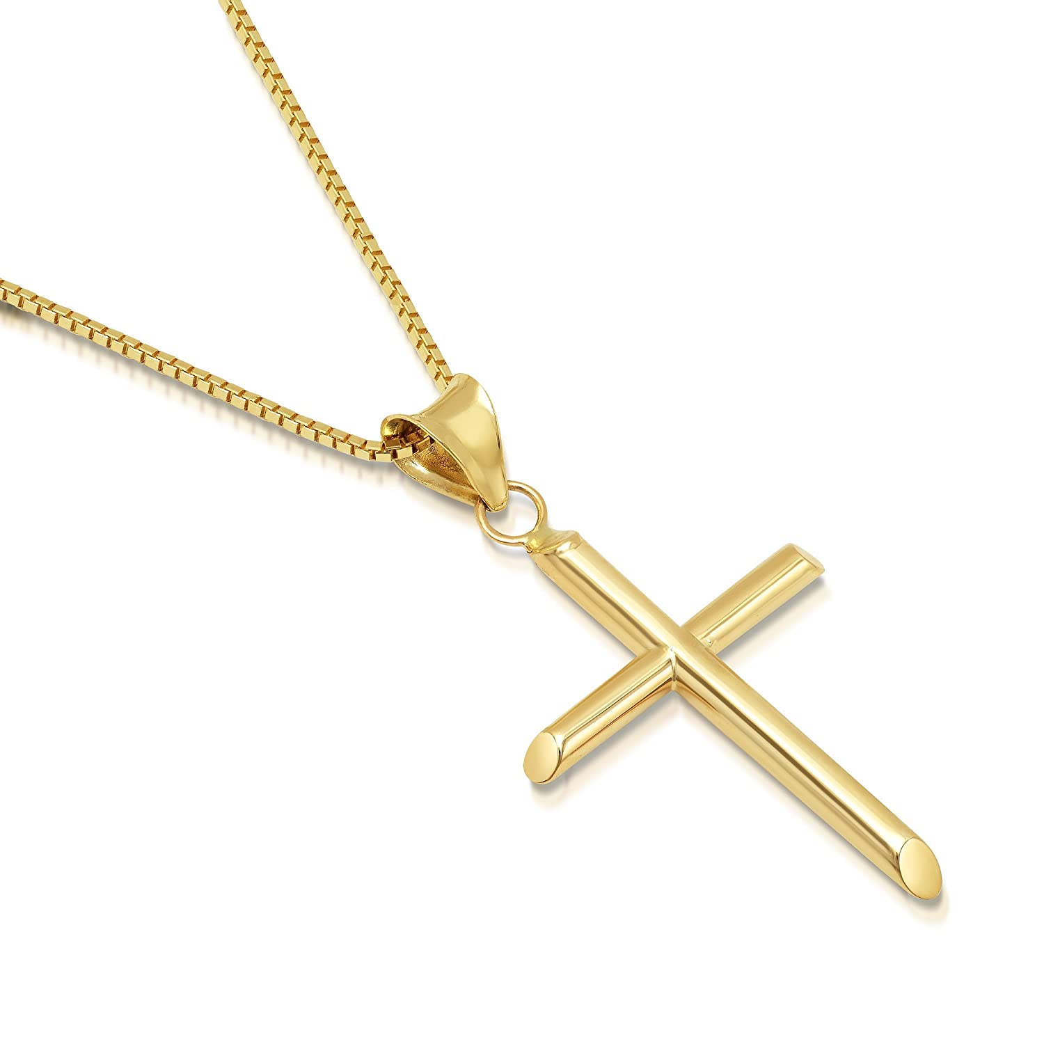 DTLA Solid 14K Gold Box Chain Cross Pendant Necklace - Choose Chain Length and Width