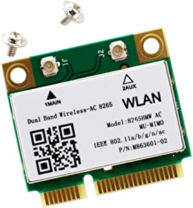 Deal4GO 8265 HMW 8265ac 802.11ac 867Mbps Mini PCie WiFi Adapter Wireless-AC WLAN Card w/Bluetooth 4.2 for Intel 8265HMW
